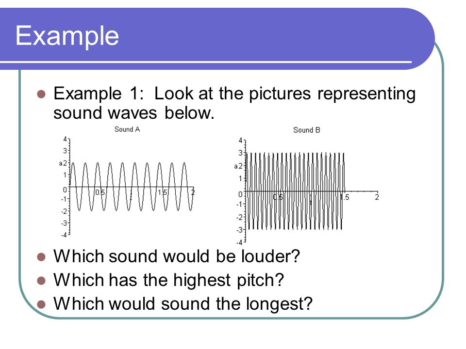 Example Example 1: Look at the pictures representing sound waves below.