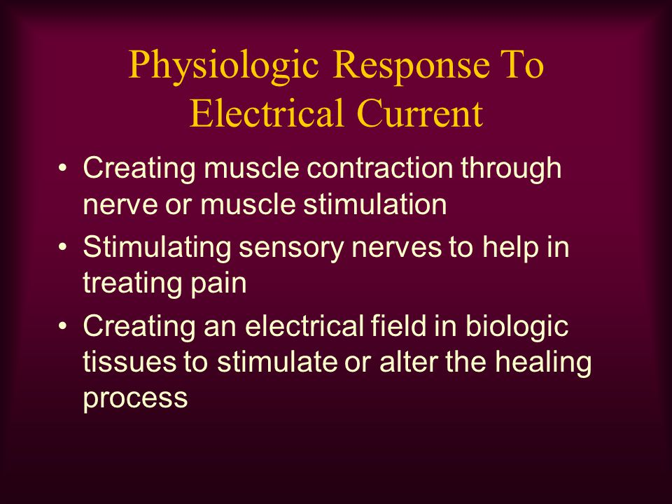 Interferential Currents When using an interference current –Set intensity according to peak –Select the frequencies to create a beat frequency corresponding to choices of frequency when using other stimulators 20 to 50 pps for muscle contraction 50 to 120 pps for pain management 1 pps for acustim pain relief