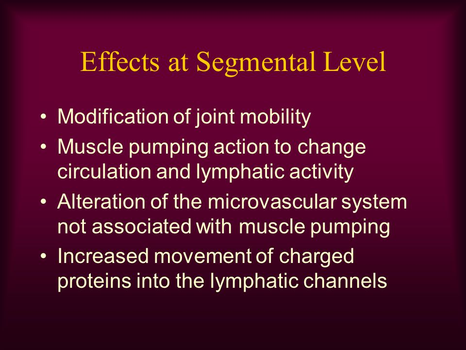 Effects at Segmental Level Transcutaneous electrical stimulation cannot directly stimulate lymph smooth muscle, or the autonomic nervous system without also stimulating a motor nerve