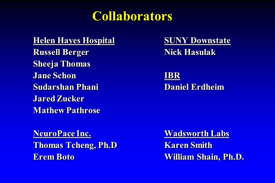 Collaborators Helen Hayes Hospital SUNY Downstate Russell Berger Nick Hasulak Sheeja Thomas Jane Schon IBR Sudarshan Phani Daniel Erdheim Jared Zucker Mathew Pathrose NeuroPace Inc.