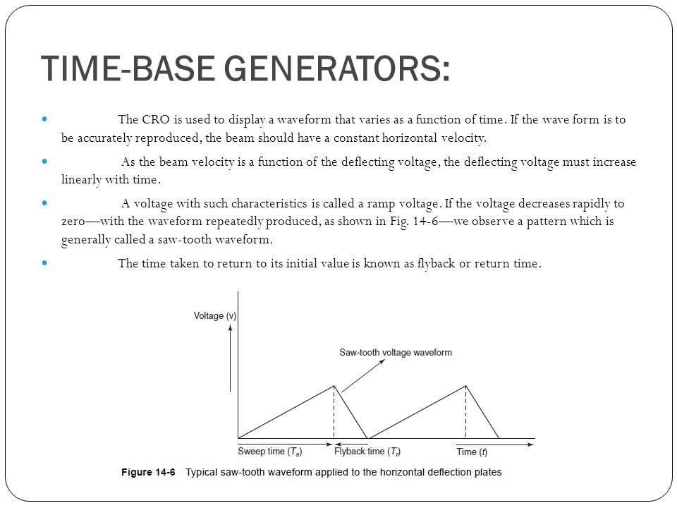 TIME-BASE GENERATORS: The CRO is used to display a waveform that varies as a function of time.