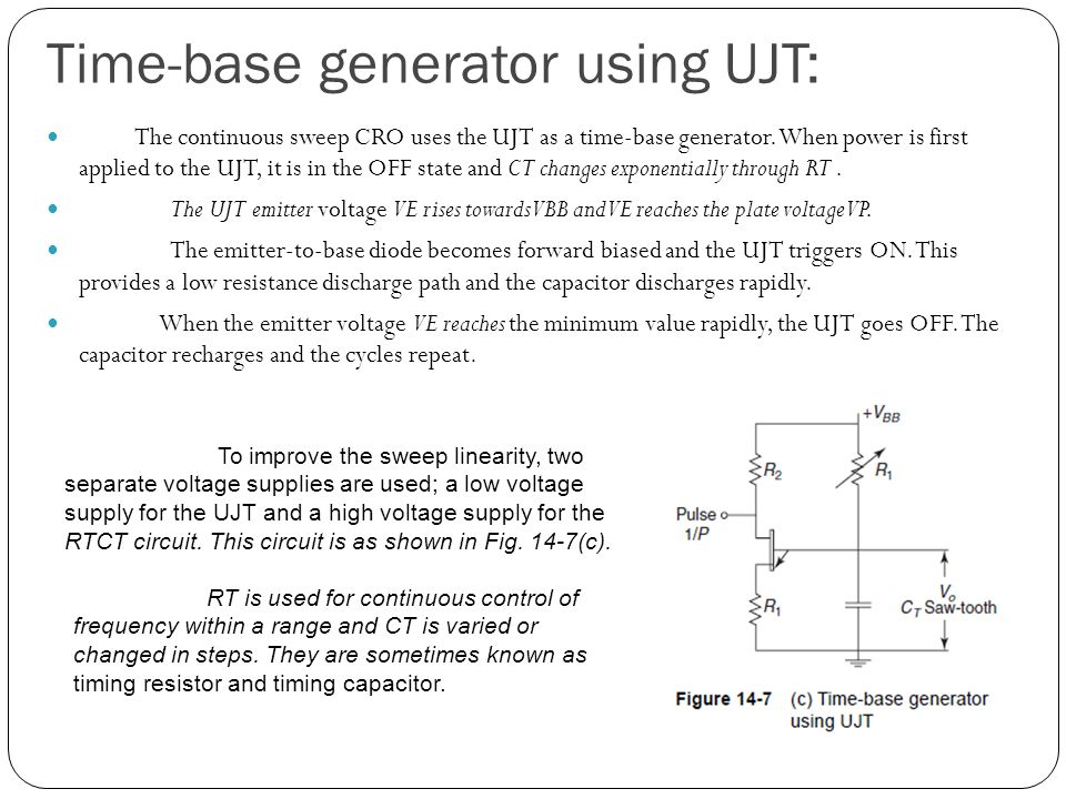 Time-base generator using UJT: The continuous sweep CRO uses the UJT as a time-base generator.
