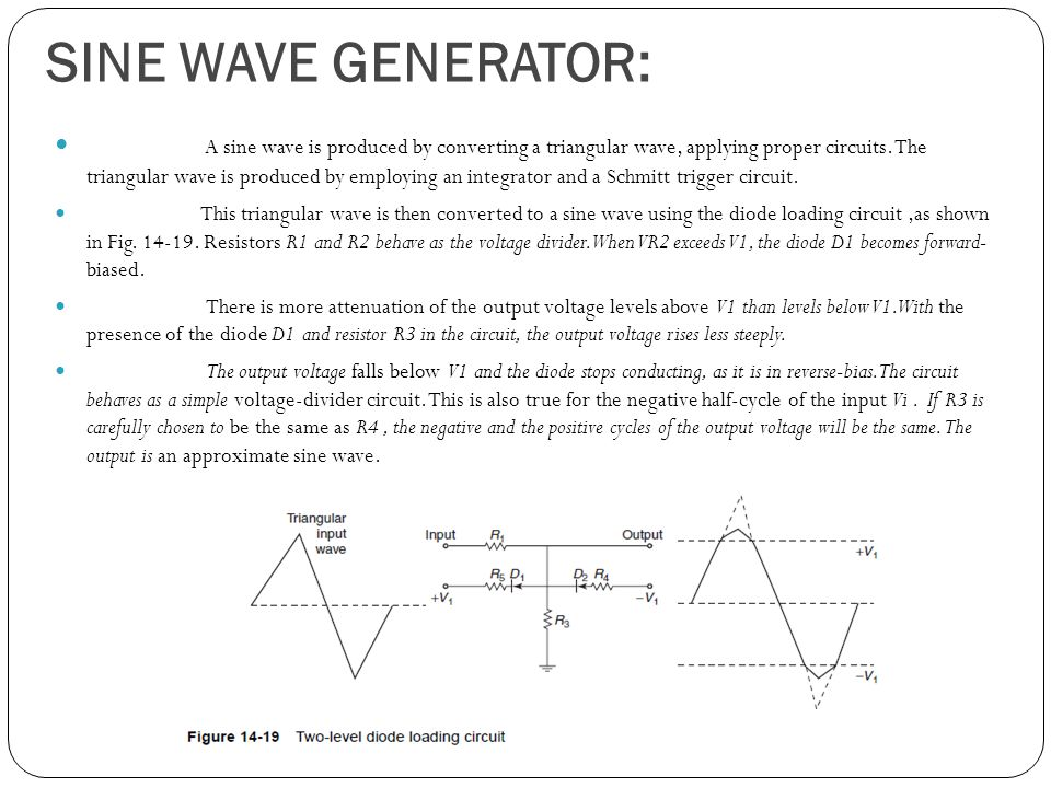 SINE WAVE GENERATOR: A sine wave is produced by converting a triangular wave, applying proper circuits.