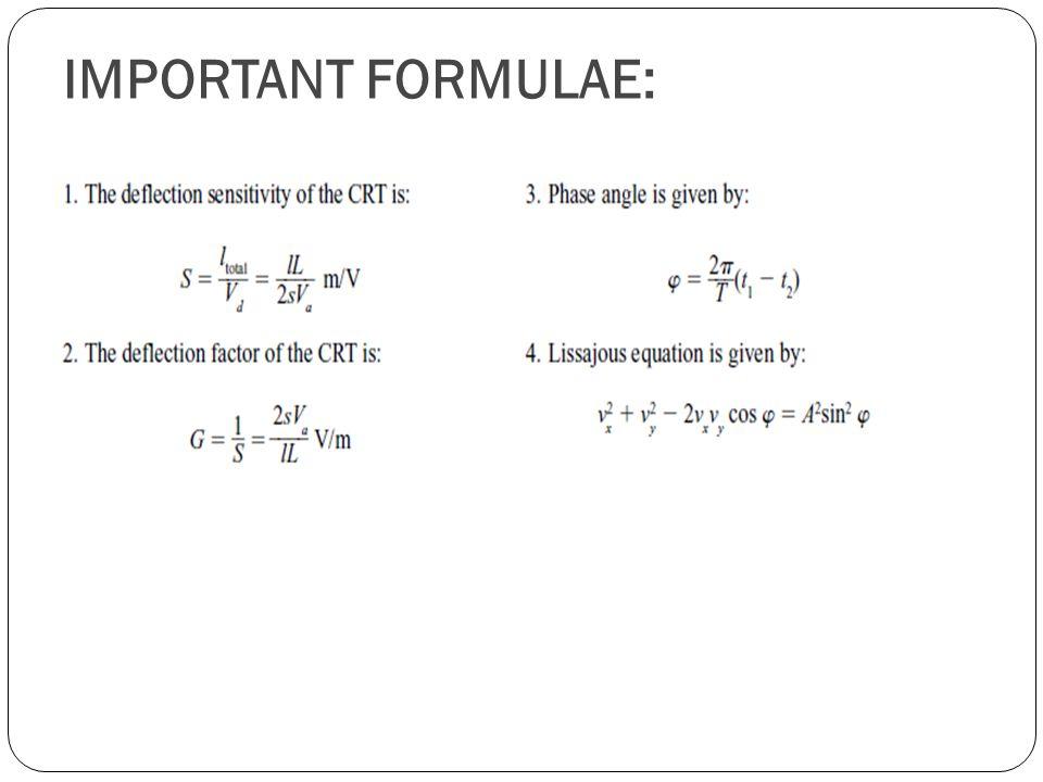 IMPORTANT FORMULAE: