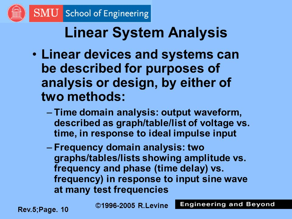 Rev.5;Page. 10 ©1996-2005 R.Levine Linear System Analysis Linear devices and systems can be described for purposes of analysis or design, by either of