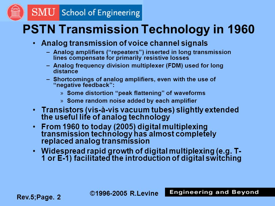 "Rev.5;Page. 2 ©1996-2005 R.Levine PSTN Transmission Technology in 1960 Analog transmission of voice channel signals –Analog amplifiers (""repeaters"") i"