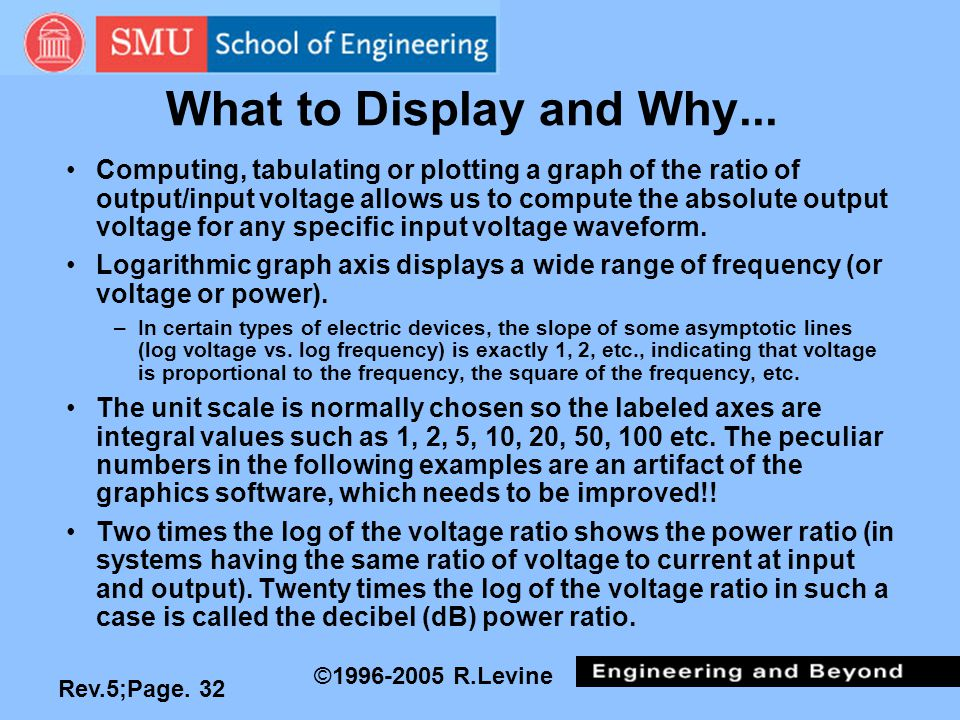 Rev.5;Page. 32 ©1996-2005 R.Levine What to Display and Why... Computing, tabulating or plotting a graph of the ratio of output/input voltage allows us