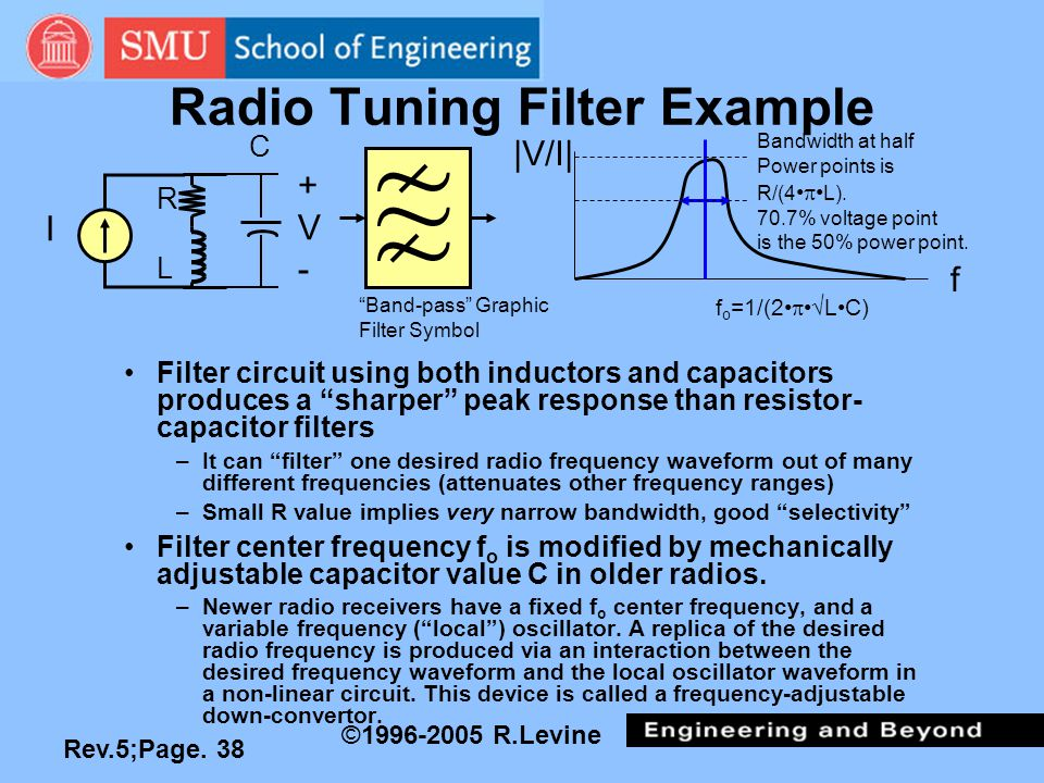 "Rev.5;Page. 38 ©1996-2005 R.Levine Radio Tuning Filter Example Filter circuit using both inductors and capacitors produces a ""sharper"" peak response t"