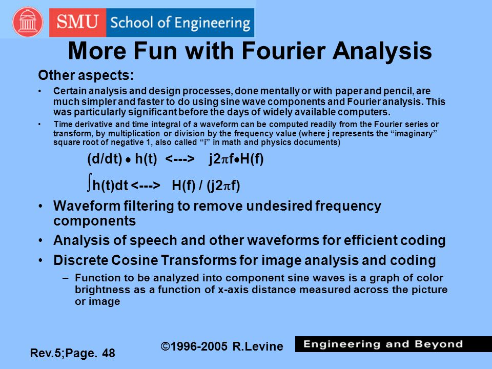 Rev.5;Page. 48 ©1996-2005 R.Levine More Fun with Fourier Analysis Other aspects: Certain analysis and design processes, done mentally or with paper an