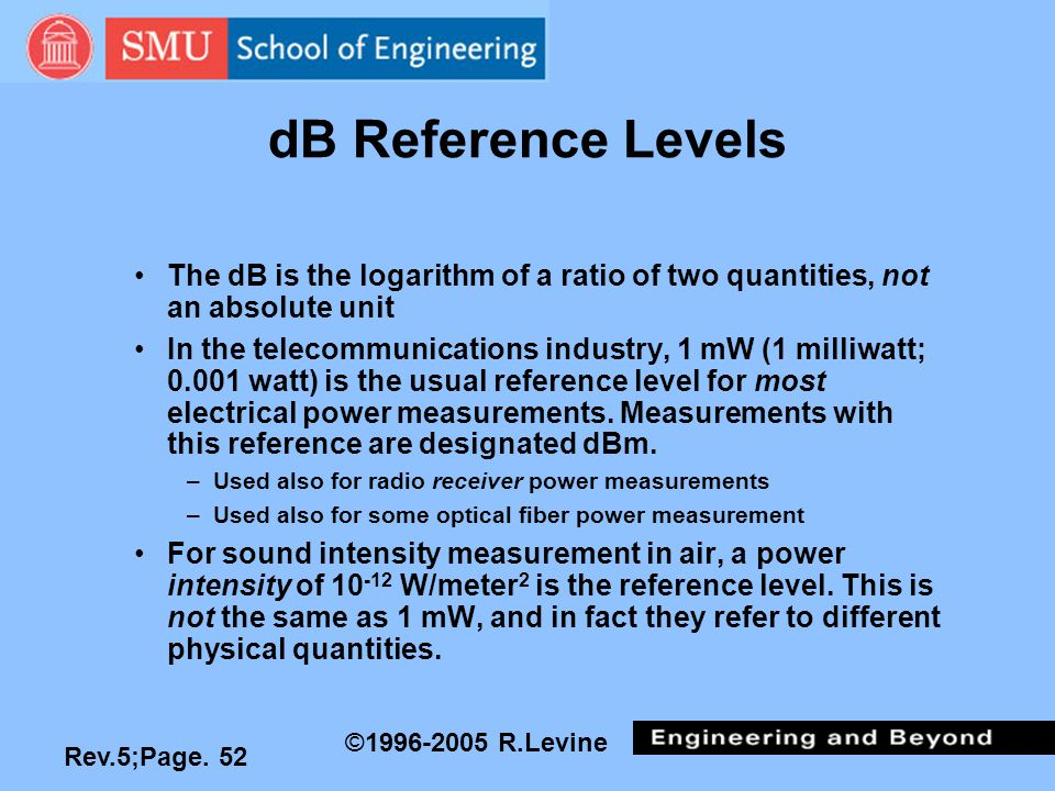 Rev.5;Page. 52 ©1996-2005 R.Levine dB Reference Levels The dB is the logarithm of a ratio of two quantities, not an absolute unit In the telecommunica