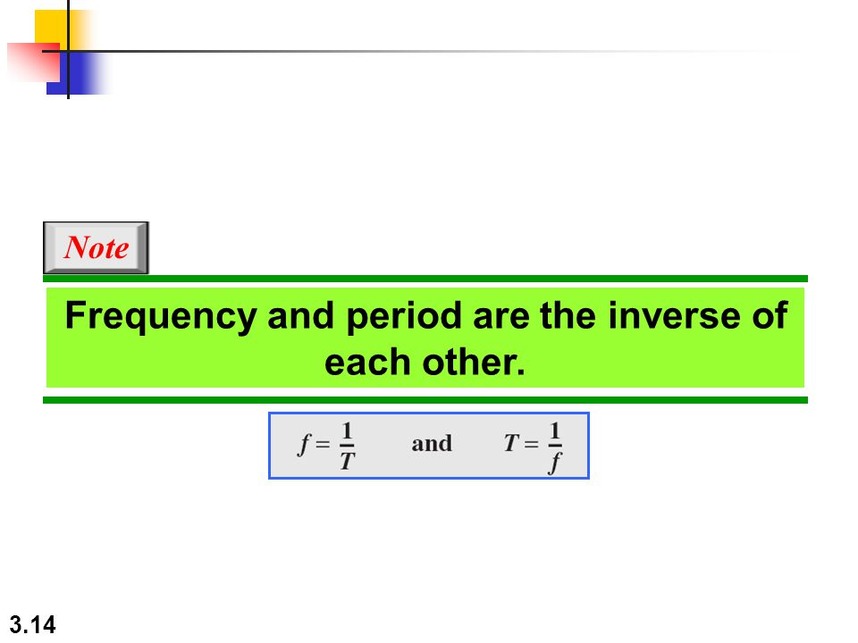 3.14 Frequency and period are the inverse of each other. Note