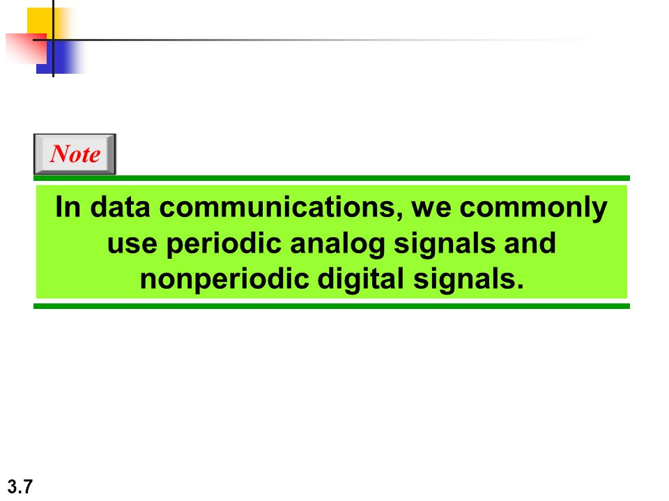 3.7 In data communications, we commonly use periodic analog signals and nonperiodic digital signals. Note