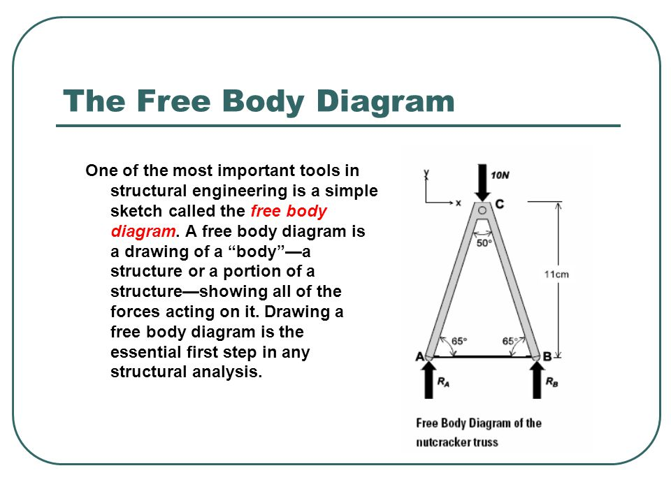 The Free Body Diagram One of the most important tools in structural engineering is a simple sketch called the free body diagram. A free body diagram i