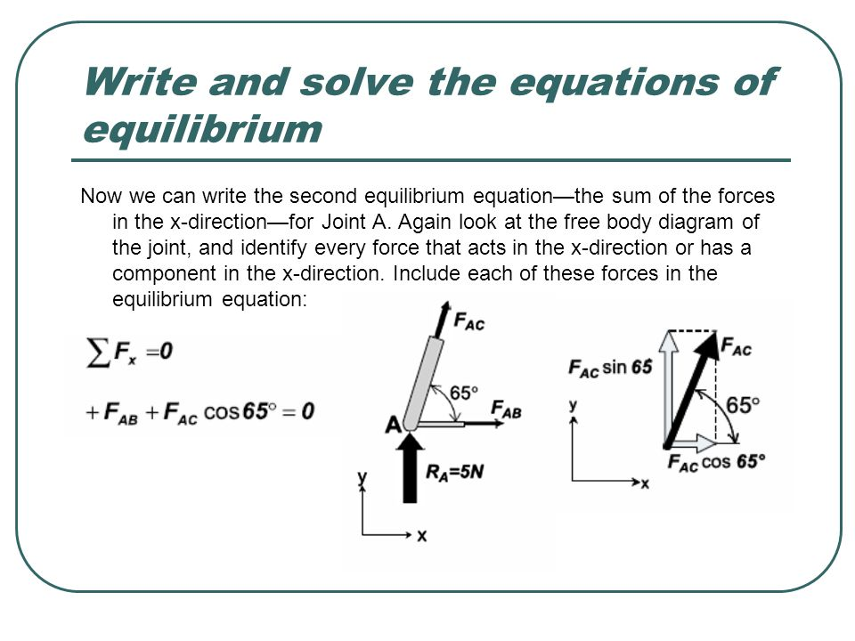 Write and solve the equations of equilibrium Now we can write the second equilibrium equation—the sum of the forces in the x-direction—for Joint A. Ag