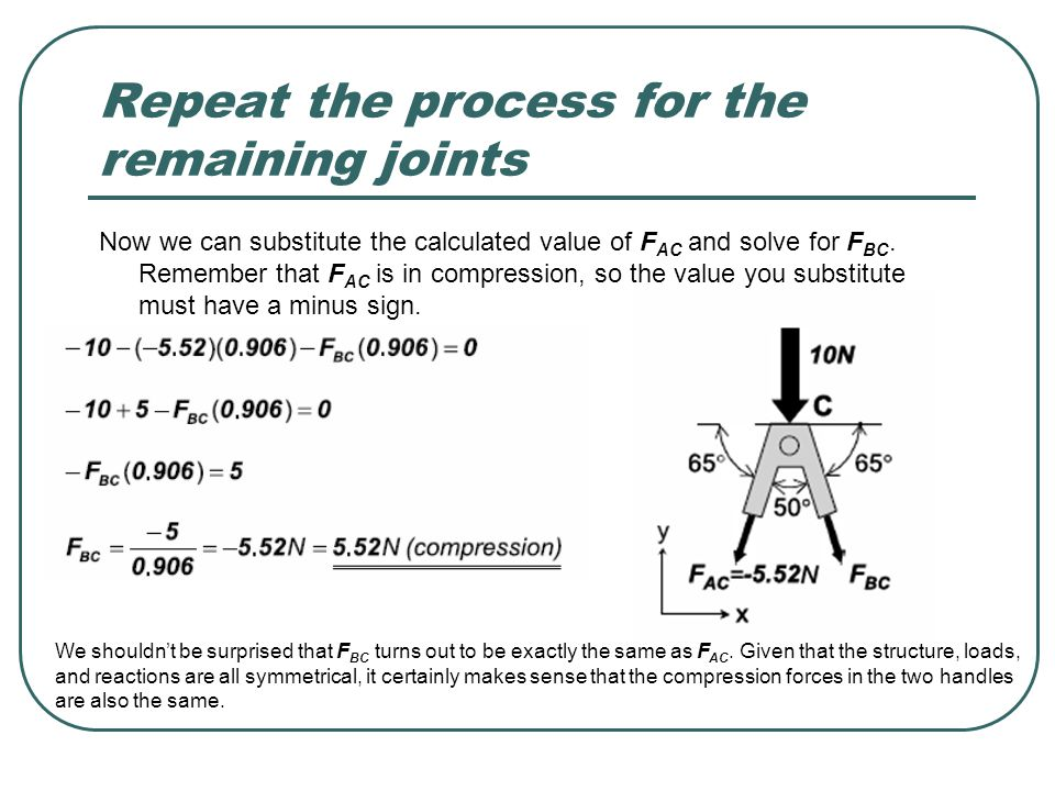 Repeat the process for the remaining joints Now we can substitute the calculated value of F AC and solve for F BC. Remember that F AC is in compressio