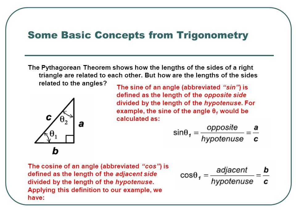 Some Basic Concepts from Trigonometry The Pythagorean Theorem shows how the lengths of the sides of a right triangle are related to each other. But ho