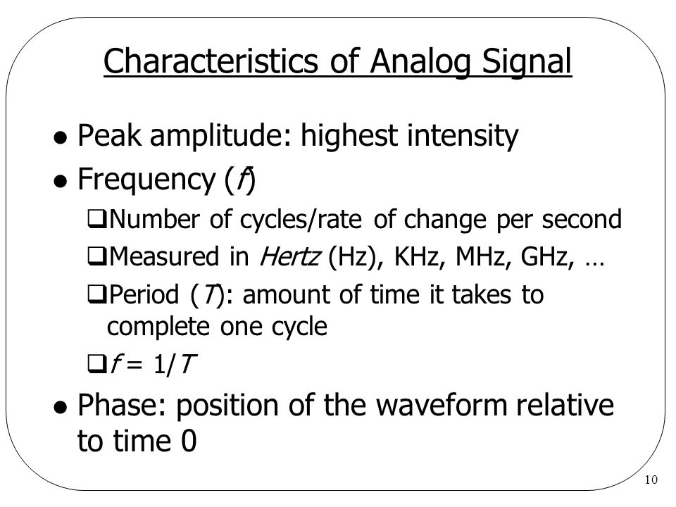 10 Characteristics of Analog Signal l Peak amplitude: highest intensity l Frequency (f)  Number of cycles/rate of change per second  Measured in Hertz (Hz), KHz, MHz, GHz, …  Period (T): amount of time it takes to complete one cycle  f = 1/T l Phase: position of the waveform relative to time 0