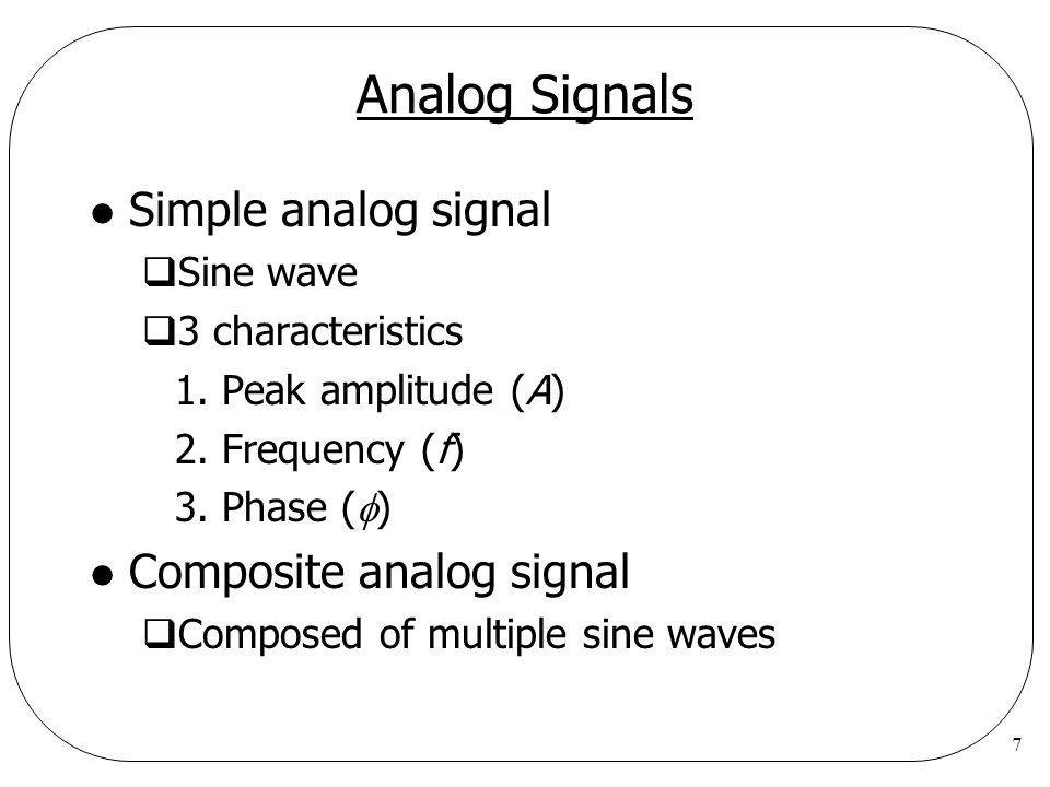 7 Analog Signals l Simple analog signal  Sine wave  3 characteristics 1.