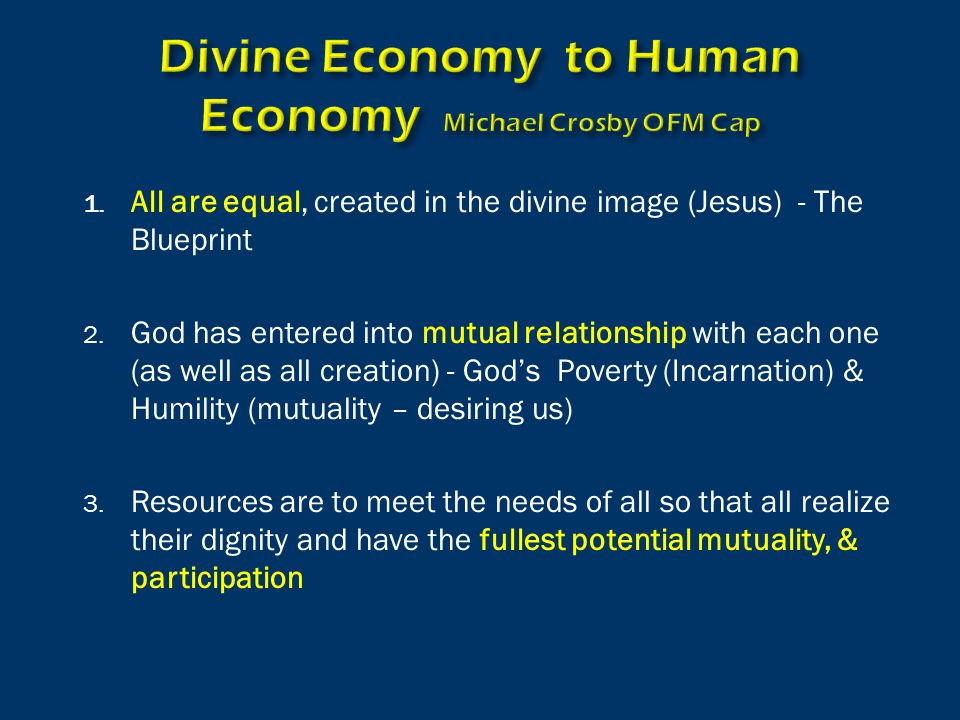 1. All are equal, created in the divine image (Jesus) - The Blueprint 2.
