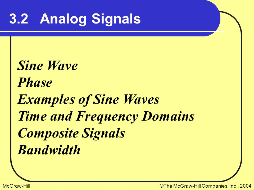 McGraw-Hill©The McGraw-Hill Companies, Inc., 2004 3.2 Analog Signals Sine Wave Phase Examples of Sine Waves Time and Frequency Domains Composite Signals Bandwidth