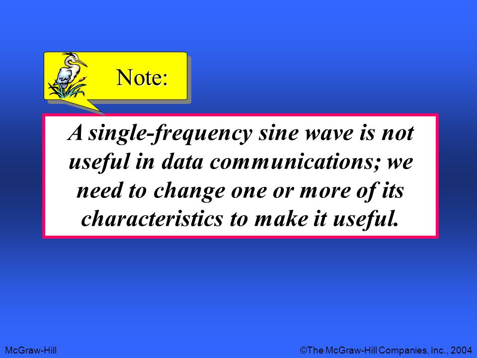 McGraw-Hill©The McGraw-Hill Companies, Inc., 2004 A single-frequency sine wave is not useful in data communications; we need to change one or more of its characteristics to make it useful.