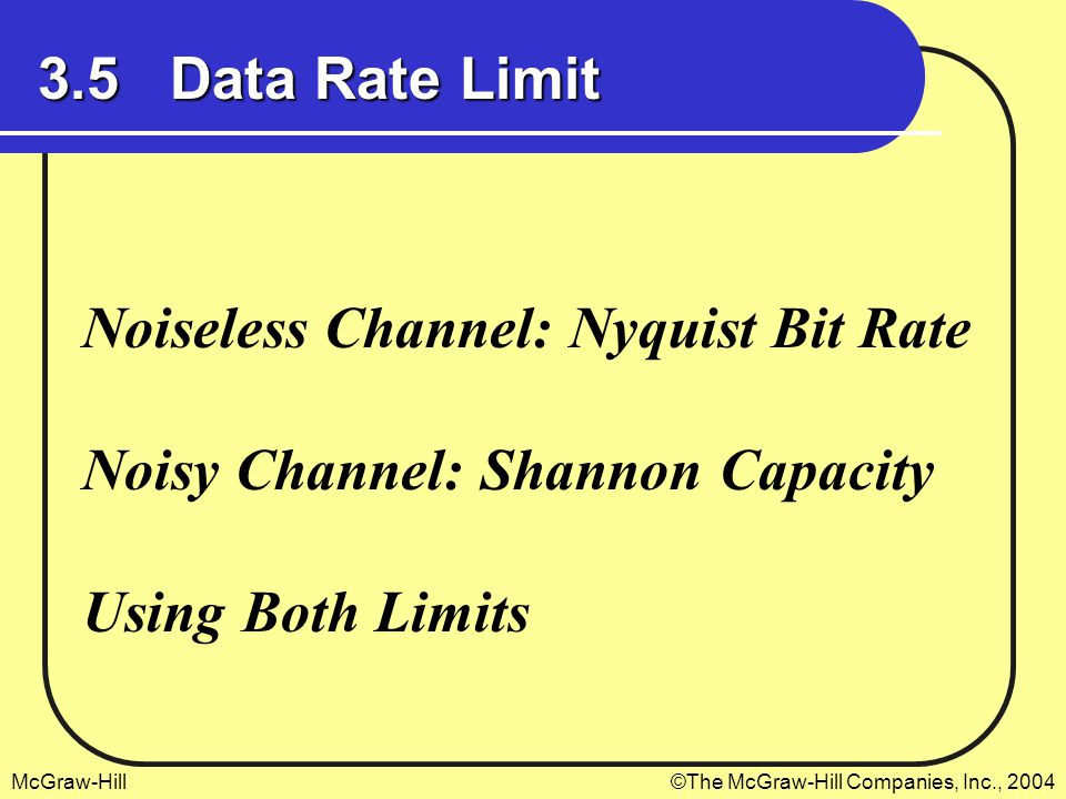 McGraw-Hill©The McGraw-Hill Companies, Inc., 2004 3.5 Data Rate Limit Noiseless Channel: Nyquist Bit Rate Noisy Channel: Shannon Capacity Using Both Limits