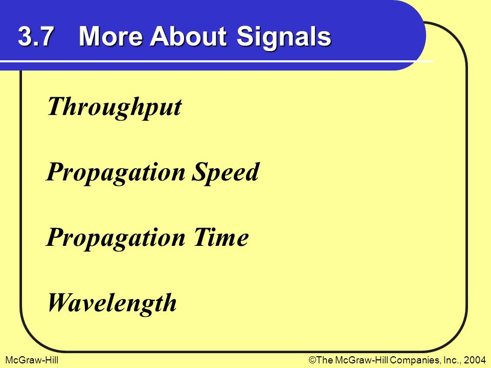 McGraw-Hill©The McGraw-Hill Companies, Inc., 2004 3.7 More About Signals Throughput Propagation Speed Propagation Time Wavelength