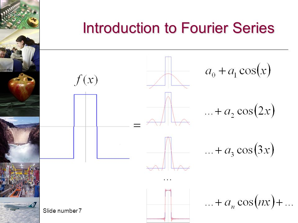 Slide number 8 Fourier series A Fourier series is a convenient representation of a periodic function.