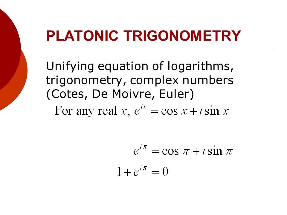 PLATONIC TRIGONOMETRY Unifying equation of logarithms, trigonometry, complex numbers (Cotes, De Moivre, Euler)