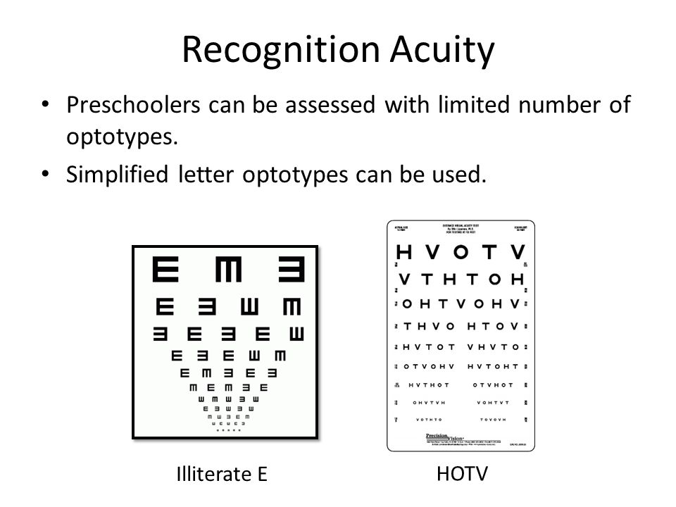 Recognition Acuity Preschoolers can be assessed with limited number of optotypes.