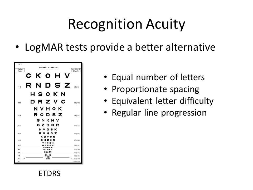 Recognition Acuity LogMAR tests provide a better alternative ETDRS Equal number of letters Proportionate spacing Equivalent letter difficulty Regular line progression