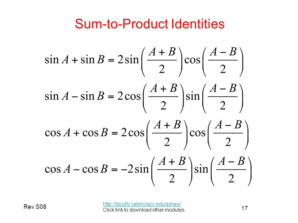 17 Rev.S08 Sum-to-Product Identities http://faculty.valenciacc.edu/ashaw/ Click link to download other modules.