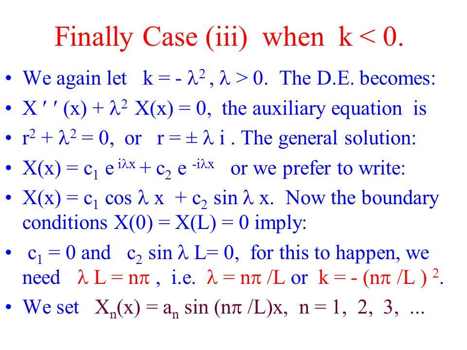 Finally Case (iii) when k < 0. We again let k = - 2, > 0.