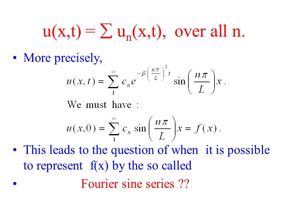 u(x,t) =  u n (x,t), over all n.