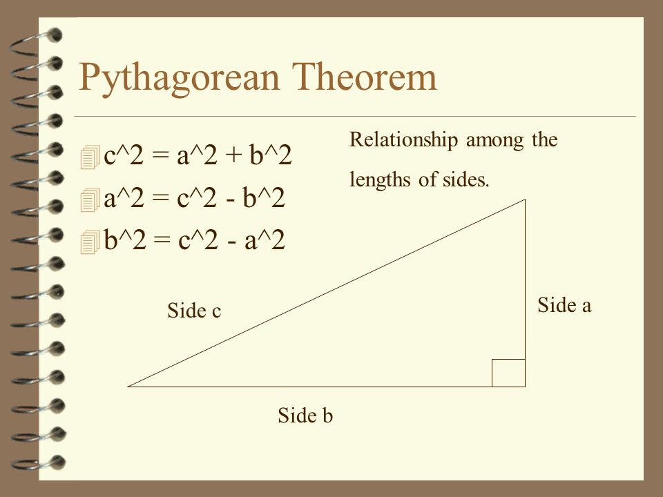 Pythagorean Theorem 4 c^2 = a^2 + b^2 4 a^2 = c^2 - b^2 4 b^2 = c^2 - a^2 Side c Side a Side b Relationship among the lengths of sides.