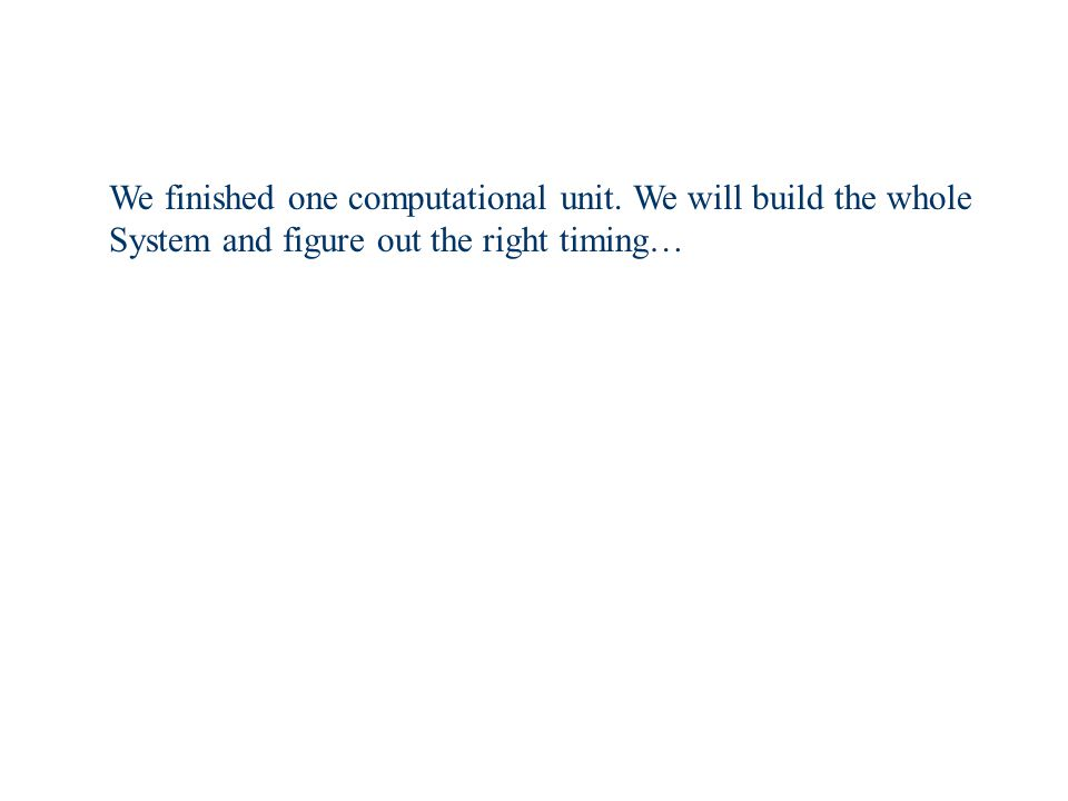 We finished one computational unit. We will build the whole System and figure out the right timing…