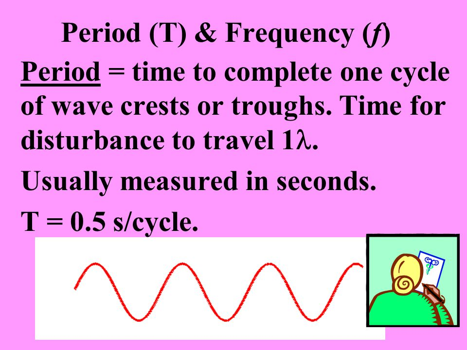 Period (T) & Frequency (f) Period = time to complete one cycle of wave crests or troughs.