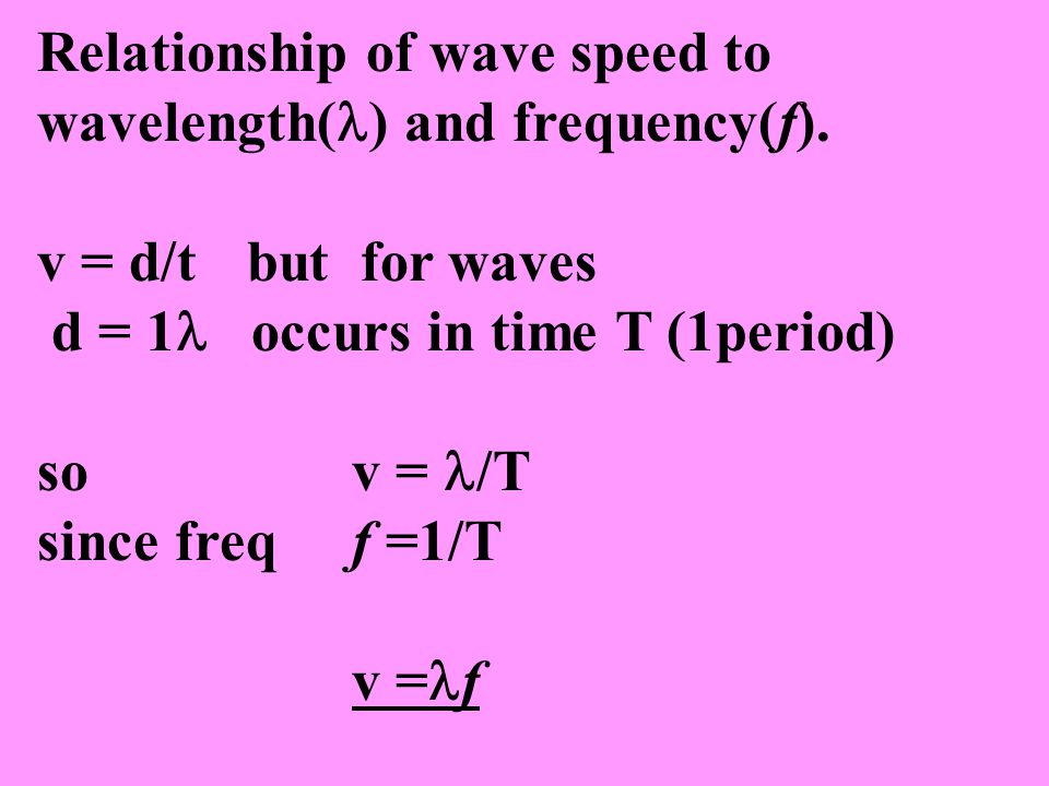Relationship of wave speed to wavelength( ) and frequency(f). v = d/tbut for waves d = 1 occurs in time T (1period) so v = /T since freqf =1/T v = f