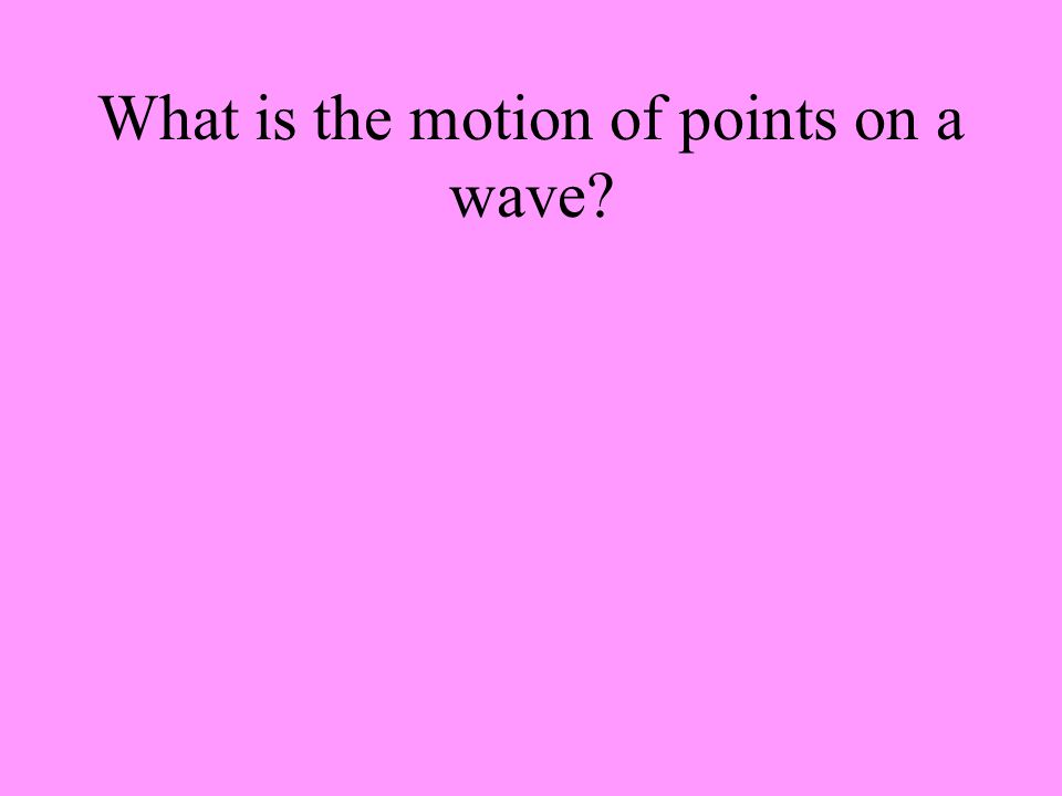 What is the motion of points on a wave