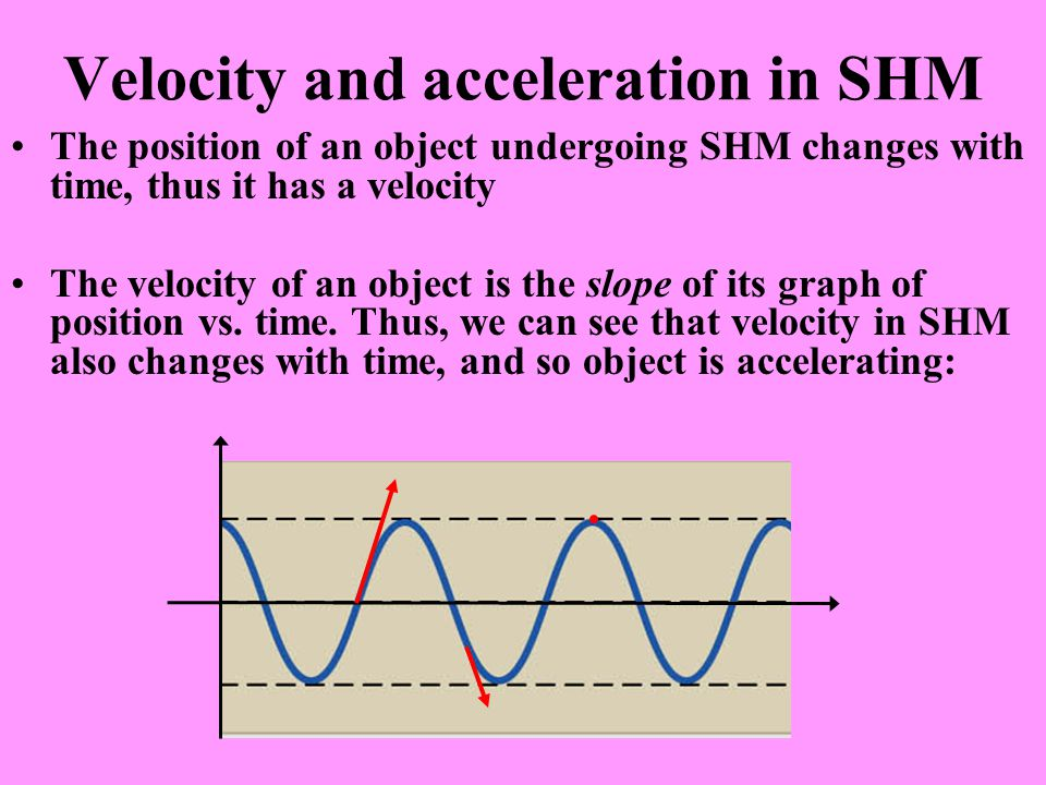Velocity and acceleration in SHM The position of an object undergoing SHM changes with time, thus it has a velocity The velocity of an object is the s