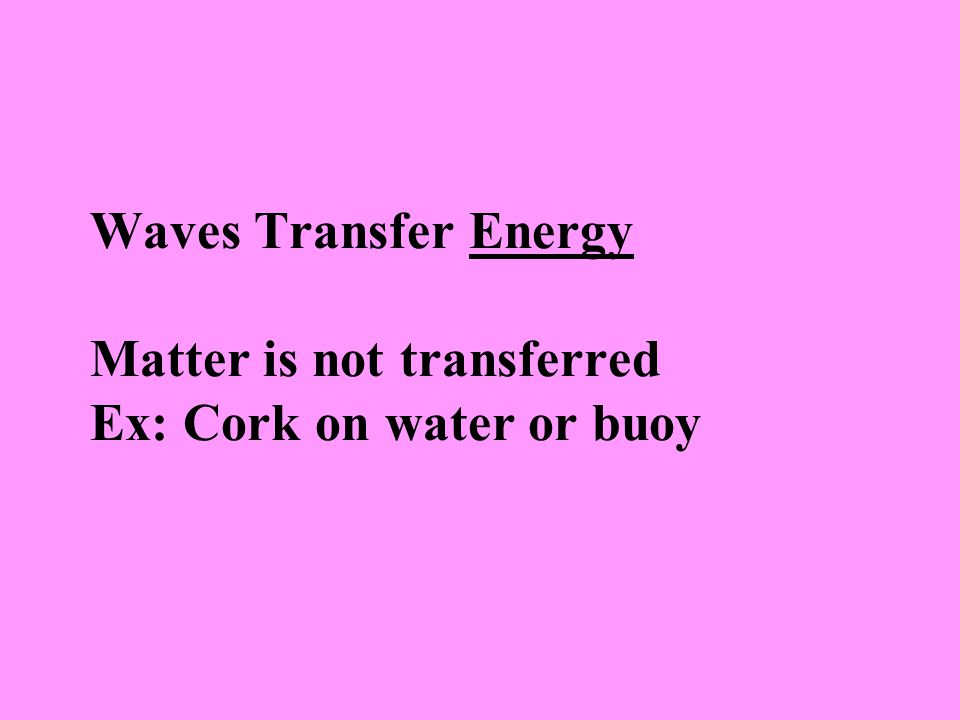 Waves Transfer Energy Matter is not transferred Ex: Cork on water or buoy