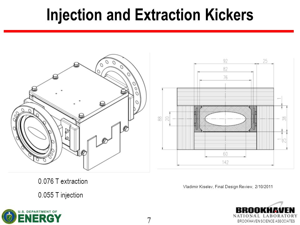 7 BROOKHAVEN SCIENCE ASSOCIATES Injection and Extraction Kickers Vladimir Kiselev, Final Design Review, 2/10/2011 0.076 T extraction 0.055 T injection