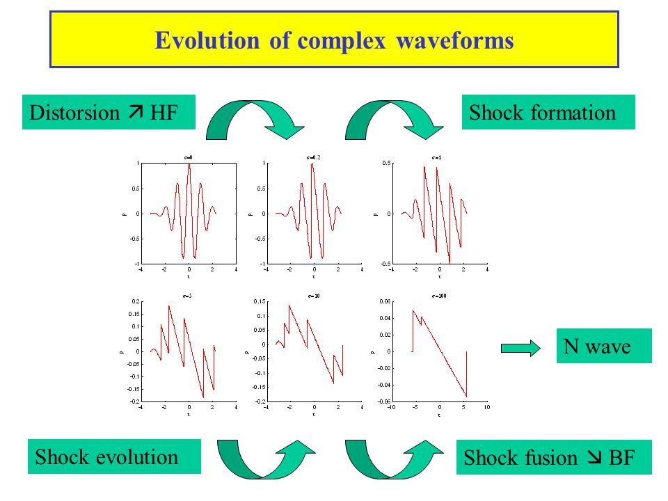 Evolution of complex waveforms Distorsion  HF Shock formation Shock evolution Shock fusion  BF N wave