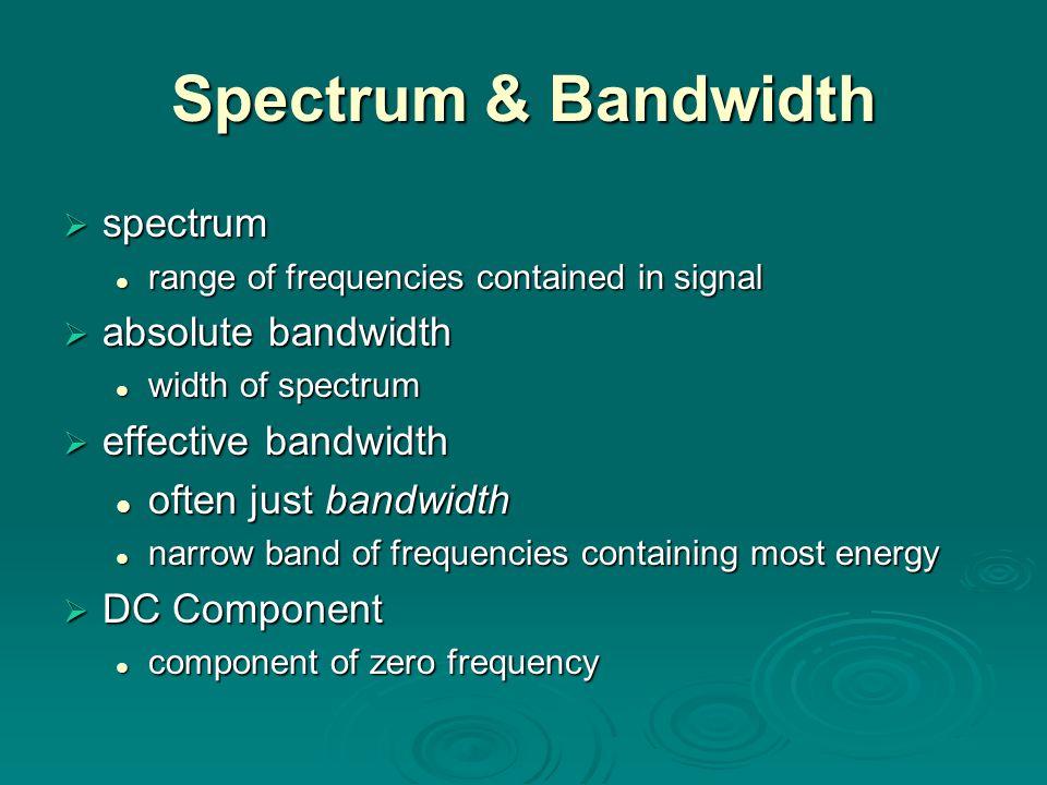 Spectrum & Bandwidth  spectrum range of frequencies contained in signal range of frequencies contained in signal  absolute bandwidth width of spectrum width of spectrum  effective bandwidth often just bandwidth often just bandwidth narrow band of frequencies containing most energy narrow band of frequencies containing most energy  DC Component component of zero frequency component of zero frequency