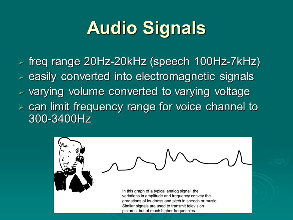 Audio Signals  freq range 20Hz-20kHz (speech 100Hz-7kHz)  easily converted into electromagnetic signals  varying volume converted to varying voltage  can limit frequency range for voice channel to 300-3400Hz