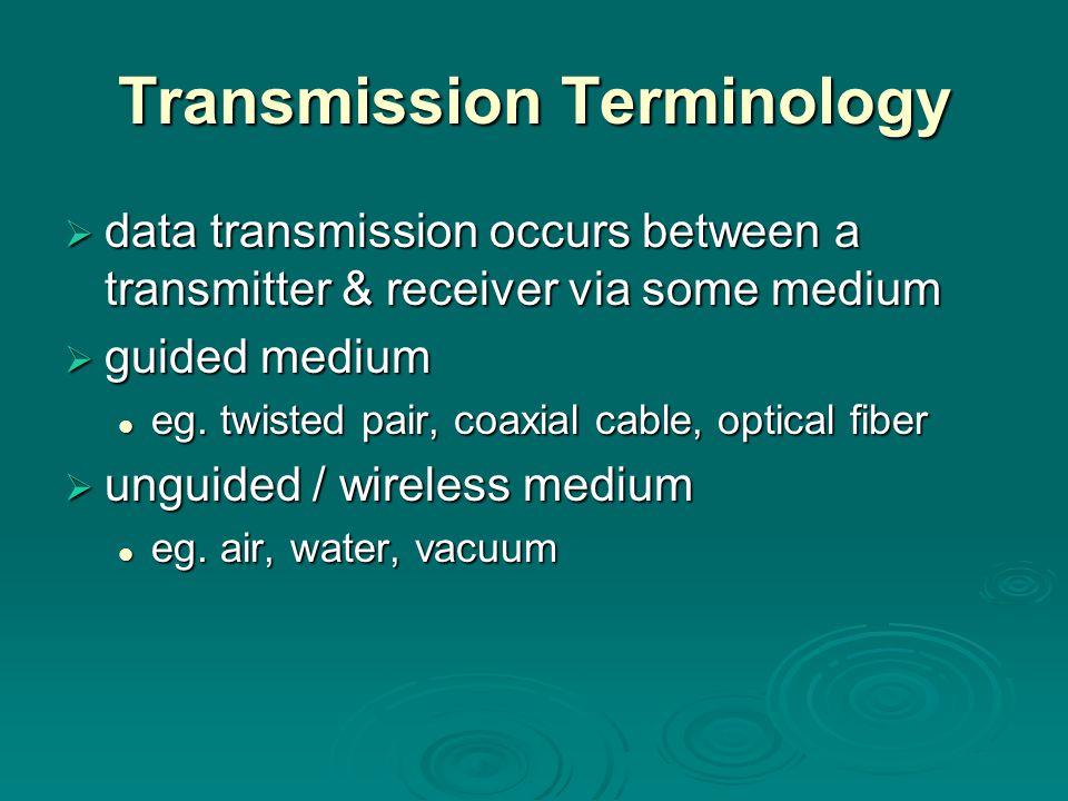 TransmissionTerminology Transmission Terminology  data transmission occurs between a transmitter & receiver via some medium  guided medium eg.