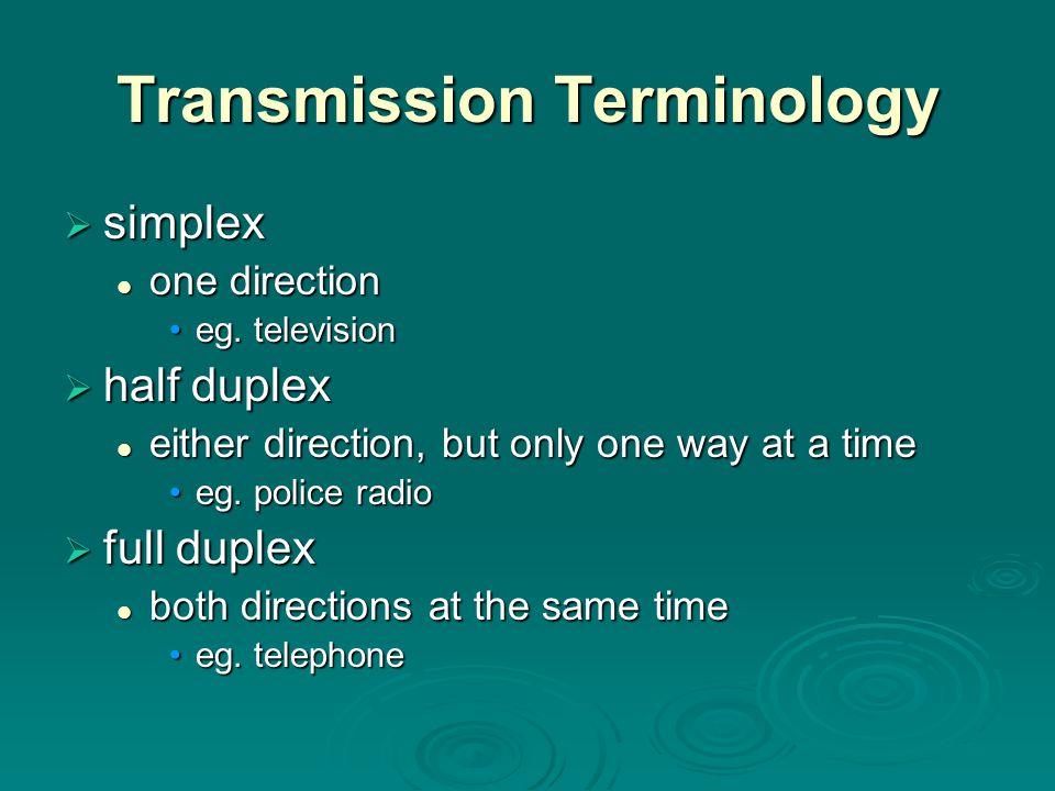 TransmissionTerminology Transmission Terminology  simplex one direction one direction eg.