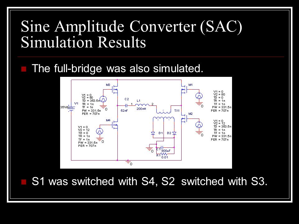 Sine Amplitude Converter (SAC) Simulation Results The full-bridge was also simulated.