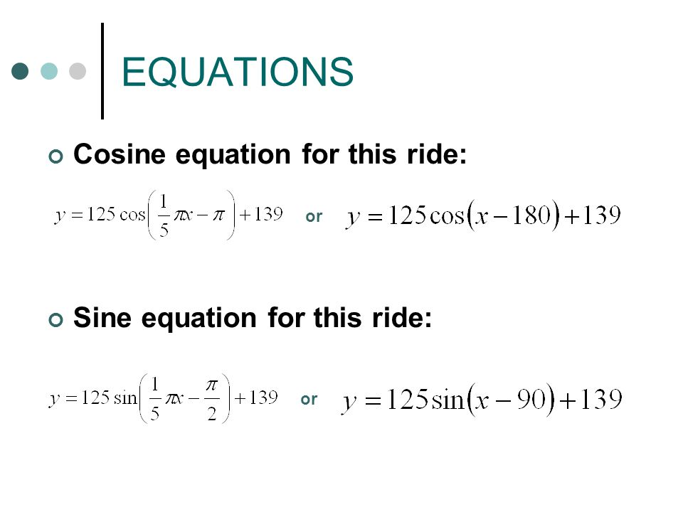 EQUATIONS Cosine equation for this ride: Sine equation for this ride: or