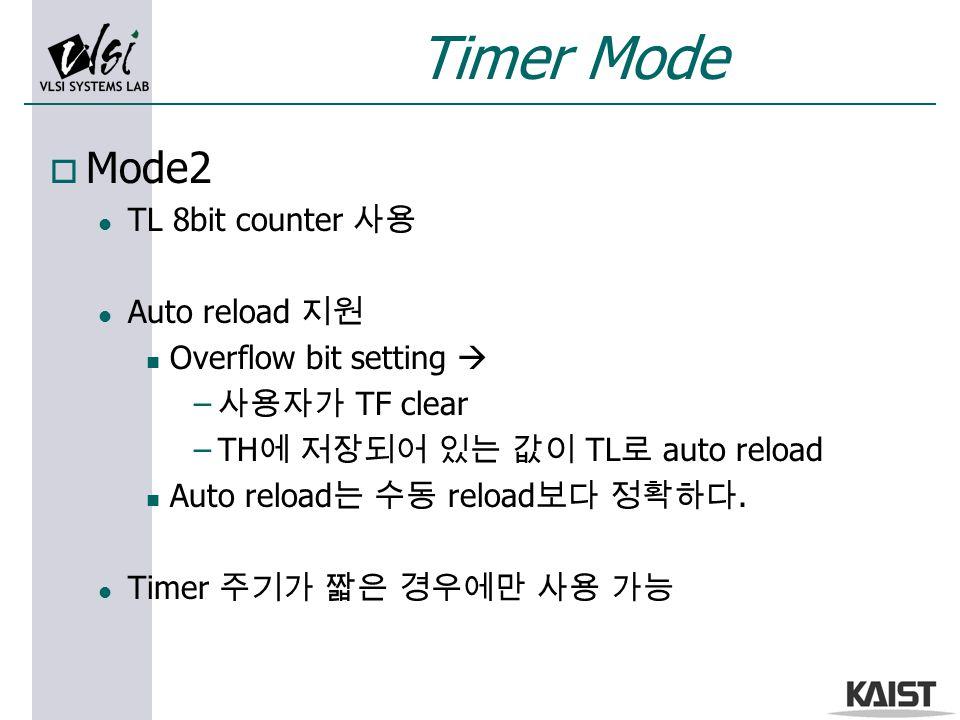 o Mode2 l TL 8bit counter 사용 l Auto reload 지원 n Overflow bit setting  – 사용자가 TF clear –TH 에 저장되어 있는 값이 TL 로 auto reload n Auto reload 는 수동 reload 보다 정확하다.